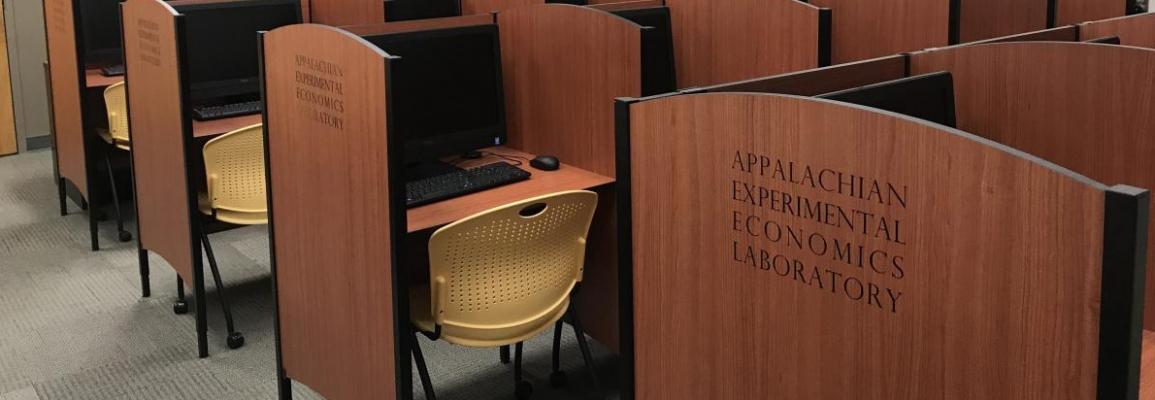 laboratory stations at the Appalachian Experimental Economics Laboratory